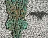Vintage Art Nouveau Style Filigree Wing - Delicate Beautiful Sealed Sky Blue Verdigris on Beautiful Burnt Gingerbread