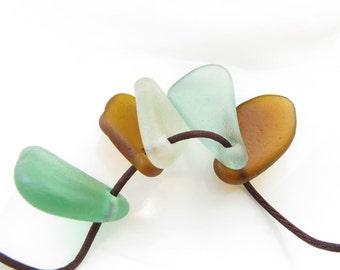 Sea Glass Pendants Charms- Genuine Natural Beach Glass- Surftumbled Treasuries 5 pcs