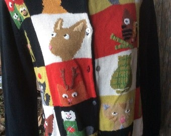 Vintage Knitted Cat Sweater