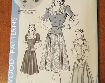 Hollywood Pattern 627 Size 14 bust 32 Hip 35 Eleanore Whitney one-piece dress pattern (P175)