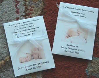 Customized Baby Baptism, Christening or Dedication Seed Packet Favors