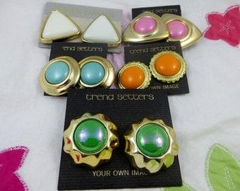 NOS Bold Fun 80's Earrings Five Pairs Vintage Clip on Spring Summer Clip on Earrings Vintage Jewelry Lots