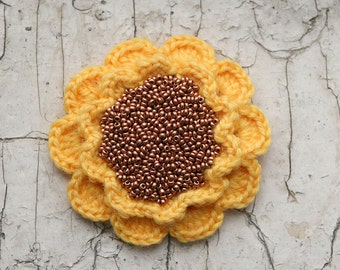 Yellow and copper flower brooch
