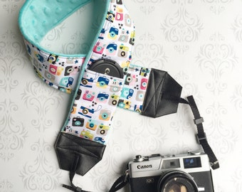DSLR Minky Camera Strap, Padded with Lens Cap Pocket, Nikon, Canon, DSLR Photography, Photographer Gift, Wedding - Cute Cameras with Aqua