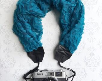 Lace Scarf Style Ruffled Camera Strap, DSLR Camera Strap, Vintage, Nikon, Canon, DSLR Photography, Photographer Gift - Rosebud Lace Teal