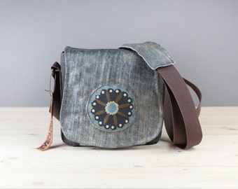 Gray and Blue Tapestry Leather Camera Bag Satchel- PRE-ORDER