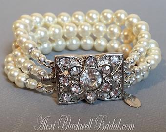 Art Deco Pearl Bracelet 3 multi strands Swarovski pearls Cream Ivory  Vintage Rhinestone Fancy Clasp wedding jewelry bridal bracelet gifts