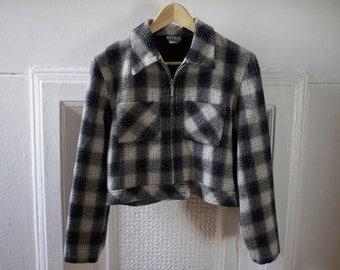 90s Clueless Plaid zip-Up Jacket