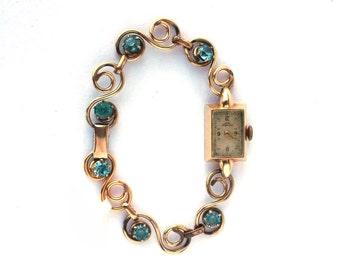 Vintage Art Deco Danish Ladie's 14k Yellow Gold Jules Jurgensen Swiss Watch w/ Deco GF Blue Zircon Jewel Bracelet
