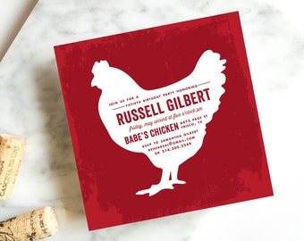 Chicken Birthday Invitation, Adult Birthday Invitation, Fiftieth Birthday, Fried Chicken Invitation, DInner Party Invitation
