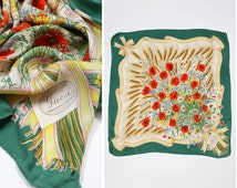 Gucci Scarf 70s {as is} • Botanical Print Silk Scarf • Designer Silk Scarf • Floral Silk Scarf • Gucci Scarf • Vintage Gucci Scarf | SC221
