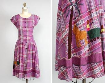 Purple Plaid Dress M/L • Applique Dress with Pockets • Novelty Dress • Indian Cotton Dress • Fit and Flare Dress • Drop Waist Dress | D865