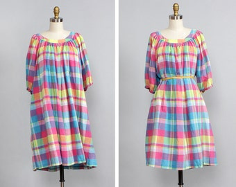 Plaid Smock Dress M/L • Flowy Summer Dress with Pockets • Indian Cotton Dress • Tent Dress • Cotton Summer Dress • Loose Dress  | D545