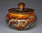 Sunset Jar Small Sugar Bowl Pottery Ceramic Stoneware Jar B