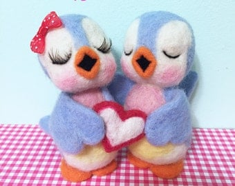 Felted Bluebird Couple Holding Heart / Soft Sculpture / Cake Topper / Decoration / Valentine's Day