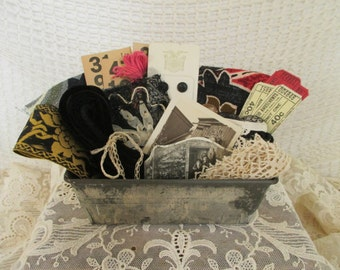 Vintage Findings Supplies Scraps - Mixed Media, Assemblage, Altered Art - Small Metal Loaf Tin - Lace Buttons Tickets Fabric
