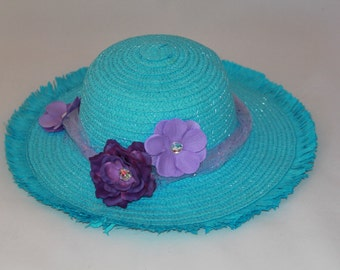 Tea Party Hat - Turquoise Easter Bonnet with Lavender Ribbon - Girls Sun Hat - Easter Hat -  Birthday Hat - Sunday Hat - Derby Hat  1691