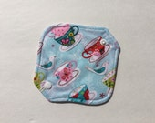 """Cloth Panty Liner All In One Cotton Fleece 6.5"""" Tea Cups"""