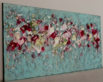 Large abstract Painting  large Flower paintng Long painting teal pink painting 24 x 48 Spring Blessings Swalla Studio