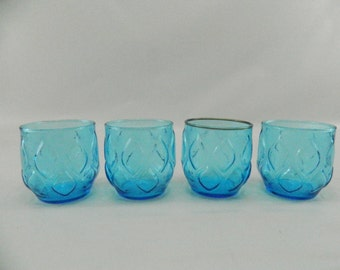 Vintage Mid Century Tumblers, Anchor Hocking Madrid, Lo Ball Glasses, Blue Diamond