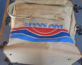 "Vintage PAN AM Travel Bag AIRLINE Luggage Shoulder Bag Approx. 12"" x 16"" x 5 1/2""  Plane Travel"