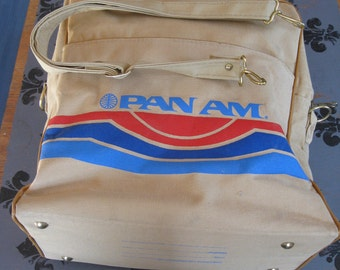 "Vintage PAN AM Travel Bag AIRLINE Luggage Shoulder Bag Approx. 12"" x 16"" x 5 1/2""  Plane Travel"