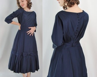 Vintage Fifties Dress - 1950s Navy Blue Party Dress - 50s Fit and Flare Dress - XS 50s Dress - Small Full Skirt Dress