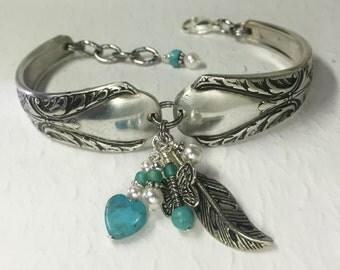 Silver Spoon Bracelet, Turquoise Heart, White Pearls, Butterfly, 'Avalon' 1940, Silverware Jewelry