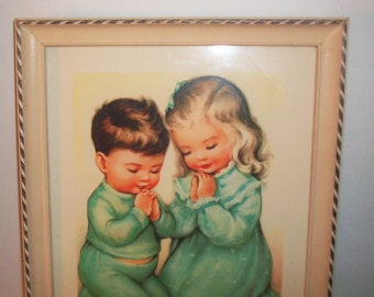 Vintage Print of Boy & Girl in Blue Pajamas Praying Nursery Decor