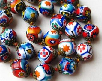 Vintage 50s Italian Venetian Millefiori Multi Color Art Glass Murano Bead Necklace