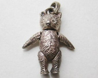 Vintage Sterling Silver Novelty Jointed Teddy Bear Necklace Pendant