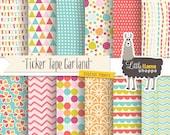 Digital Paper Set, Fun Digital Paper Pack, Cheery Patterns, Garlands, Geometric Patterns, Colorful Digital Paper, Celebration Paper