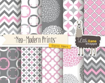 Pink Digital Paper Pack, Pink & Gray Scrapbook Papers, Geometric Chevron Quatrefoil Floral Patterns, Commercial Use