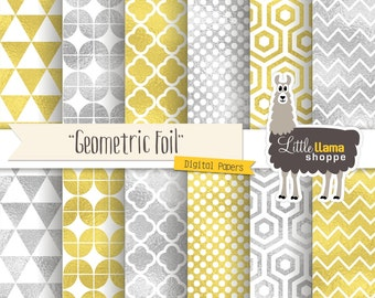 Gold & Silver Foil Geometric Digital Paper, Gold Foil Digital Paper, Silver Foil Digital Backgrounds, Commercial Use, Bling