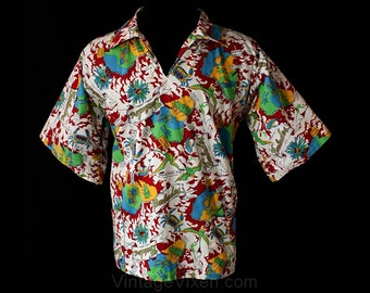 Men's Large Shirt - 1960s Barbados Map Novelty Print Afro-Shirt - Mens 60s Tiki Casual Shirt - Caribbean Islands - Chest 46 - 36718-1z