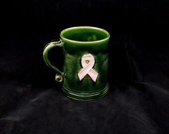 Stoneware Breast Cancer Awareness Pink Ribbon Mug