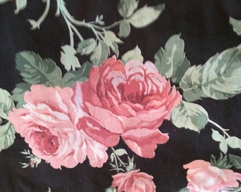 Large Floral Print 5 Yards Polyester Cotton Blend Fabric X0626