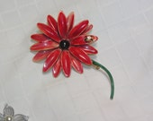 Sandor red metal flower pin with lady bug
