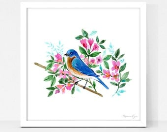 Art Print Blue Bird Blossoms