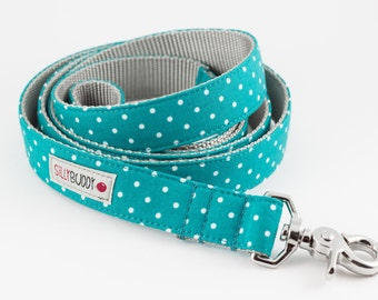 Teal Dot Dog Leash