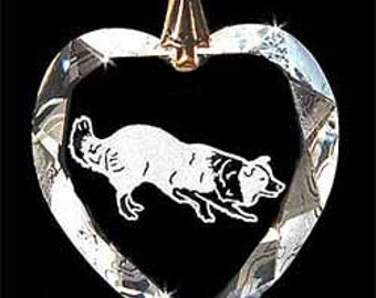 Border Collie Herding Dog Jewelry Custom Crystal Necklace Pendant, Suncatcher with any Animal or Name YOU Want, Gift, Dog Lover, Handler,