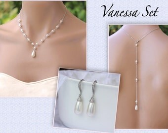 Pearl Back Drop Necklace Set, Swarovski Pearl Bridal Set, Necklace and Earring Set, Bridesmaid Jewelry, VANESSA