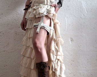 Real Leather Single Thigh Harness - White - steampunk - burning man - apocalypse, Please read Description for size