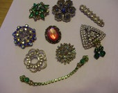 Lot of Vintage Jewelry with 8 Brooches, 1 Sweater Guard, and 1 Pair of Earrings