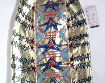 Hand Painted Gold Leather Skirt - sz 8