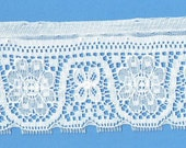 Wide White Edging Lace - Doll Dress Supplies - Vintage White Nylon Lace