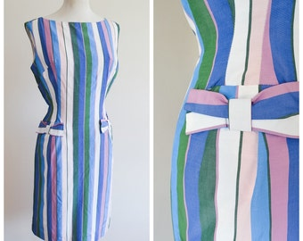 1960s Stripe rayon wiggle dress in blue, purple, green / early 60s fitted bow dress - S