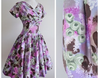 1950s Lilac & green rose print cotton day dress / 50s full skirt printed dress - S