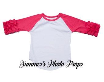 IN STOCK ready to ship Girl's Raglan Ruffle Shirt Baseball Blank Hot Pink Ready to Ship HTV Screen print Child Size