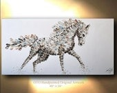 Running Horse Painting on Canvas Picture Decor Art Oil Original Artworks White Arabian mare Equestrian animal illustration by OTO